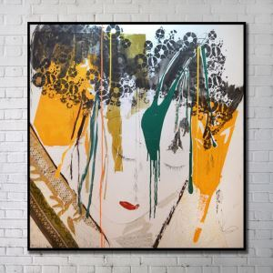 Contemporary Art Portrait Abstract Wall Painting with Black Frame 40'*40' G