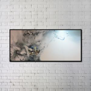 Contemporary Wall Art Water Drop Abstract Print with Black Frame 48'*20' B