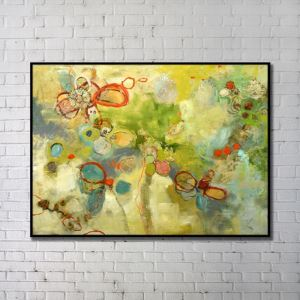 Modern Wall Art Abstract Wall Print with Black Frame48'*36' L