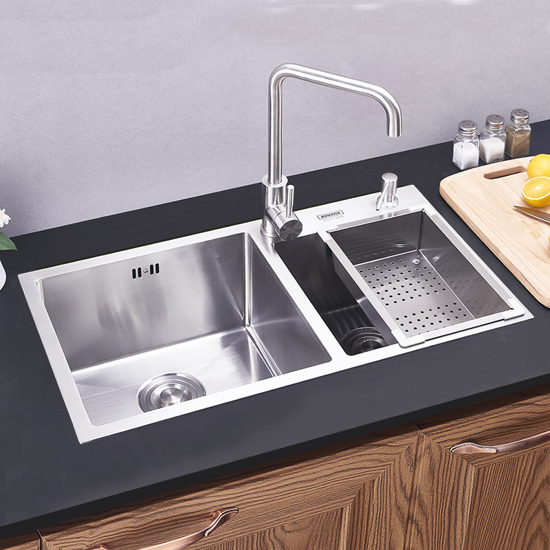 Modern Kitchen Sink 2 Bowls Hand Made Brushed 304 Stainless Steel
