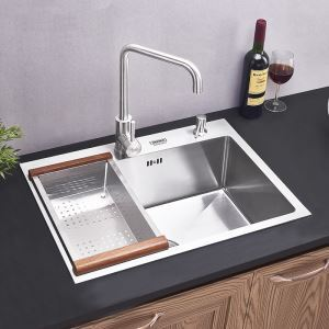 Modern Kitchen Sink Single Bowl Hand-made Brushed # 304 Stainless Steel Sink Undermount (Faucet Not Included)  HM6247
