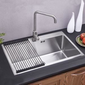 Modern Kitchen Sink Single Bowl Hand-made Brushed # 304 Stainless Steel Sink Topmount Sink (Faucet Not Included)  HM7046