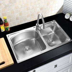 Modern Kitchen Sink 2 Bowls Brushed # 304 Stainless Steel Sink Undermount (Faucet Not Included) AOMR8043
