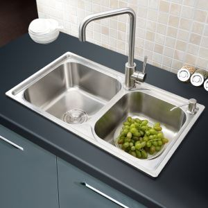 Modern Kitchen Sink 2 Bowls Brushed # 304 Stainless Steel Sink Undermount AOM6640