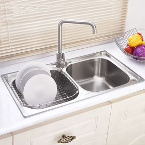 Modern Kitchen Sink 2 Bowls Brushed # 304 Stainless Steel Sink Undermount (Faucet Not Included) DB8045