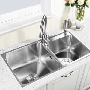 Modern Kitchen Sink 2 Bowls Brushed # 304 Stainless Steel Sink Undermount (Faucet Not Included) AOM7742M