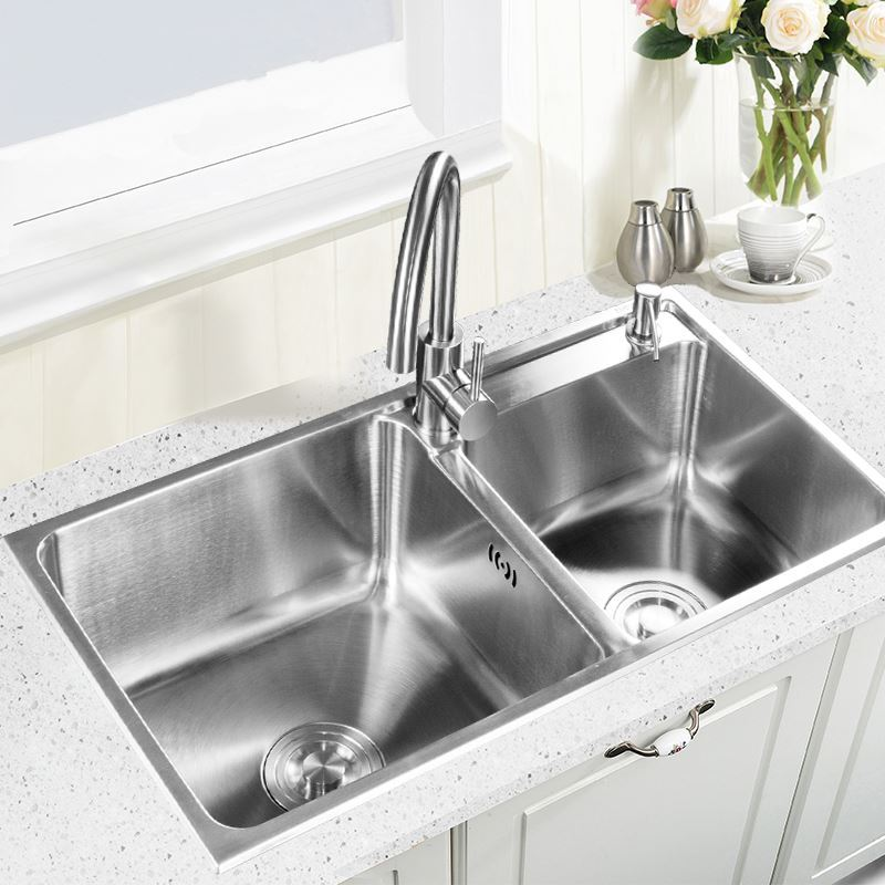 Contemporary Kitchen Sink Faucets: Modern Kitchen Sink 2 Bowls Brushed # 304 Stainless Steel