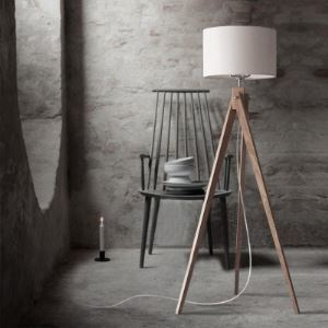 "59""High Linen Drum Shaded and Wood Tripod Designer Floor Lamp"