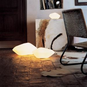 Contemporary and Novelty Stone Design Table Lamp with Hand-Blown Glass