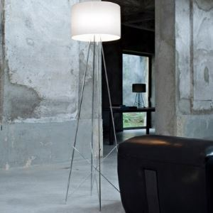 "50.4""High Drum Shade Stainless Steel Support Designer Floor Lamp"