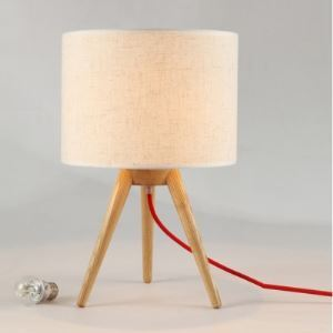 Lovely and Chic Wood Tripod Linen Shaded Designer Style Table Lamp
