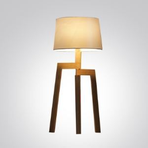 Brilliant Design Wood Base and Fabric Shaded Designer Floor Lamp