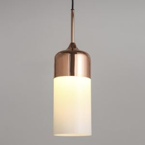 Polished Copper Single Light White Glass Cylinder Mini Pendant Lighting