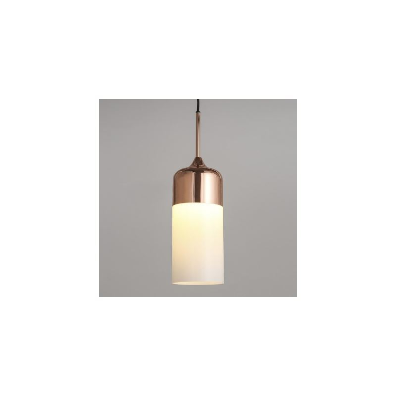 Polished Copper Single Light White Glass Cylinder Mini