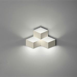 Three Lights White Finished Cube Wall Lights in Designer Style