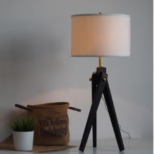 "Black Metal Tripod Chic and Elegant Designer Style Floor Lamps in 30.7""High"