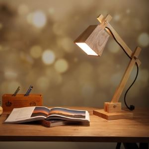 "20.8""High Cube Shaded Swing Arm Elegant Designer Wood Table Lamp"