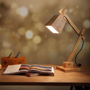 "20.8""High Cube Shaded Swing Arm Elegant Designer Wood Table Lamp"