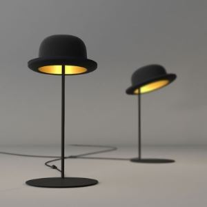 Exquisite and Wonderful Black Hat and Gold Inner Side Designer Table Lamp