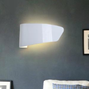 Metal Plate Shaped Designer Wall Light Finished in White Modern and Grace
