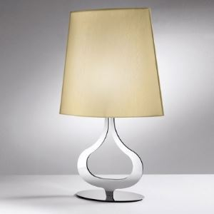 Elegant Fabric Shade and Chrome Finished Base Modern Designer Table Lights