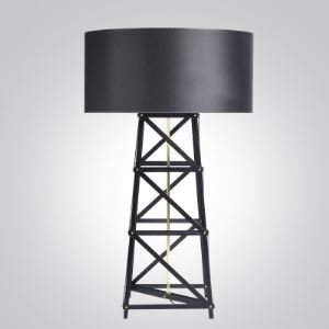 Black/White Designer Table Lamp with Ladder Base Drum Shade