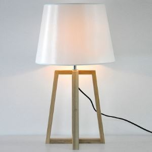 "Empire Shaded 27.5""High Designer Table Lamp with Wood Tripod Design"