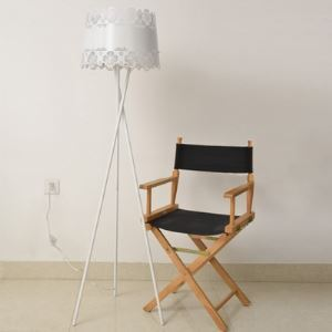 Brilliant Design Tripod Base and Flower Carved Designer Floor Lamp