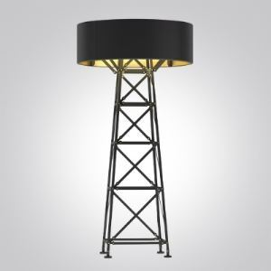59'High Black/White Designer Floor Lamp with Ladder Base