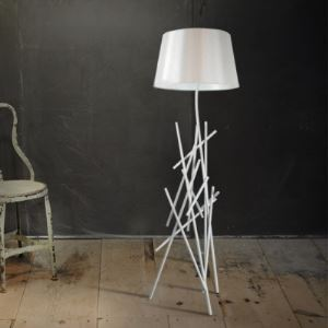 Black/White Wrought Iron 62.9'High Designer Floor Lamp