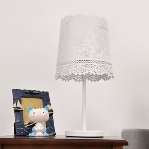 "Floral Carving White Romantic 19.6""High Designer Table Lamp"