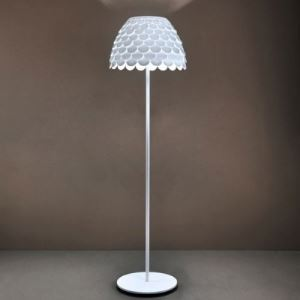 "Iron and Acrylic 70""High Soft White Finished Designer Floor Lamp"