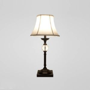 Solemn Table Lamp Fixture Features Elegant Iron Black Frame with Clear Crystal Ball Topped with White Bell Shade