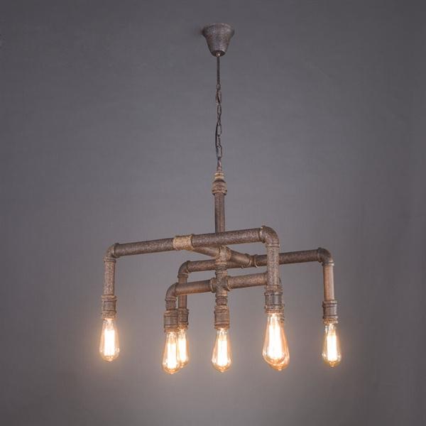 Industrial Lighting Rustic Chandelier Iron Pipe Ceiling: Pendant Lights
