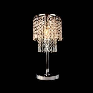 Brilliant Crystal-shaded Lamp Adorned with Clear Crystal Beads and Iron Base Perfect for Bedroom