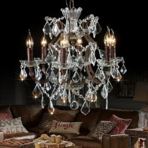 Vintage Lodge Style Six Lights Crystal Chandelier