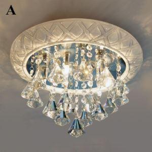Traditional Round Shape Crystal Flush Mount Light or Pendant