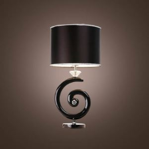 Whimsical Black Fabric Drum Shade and G-like Center Support Crystal Accent Chic Dimmer Table Lamp