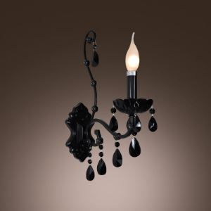 Modern Black Finish  Wall Sconce with One Candle Light Adorned with Beautiful Black Crystal Droplets