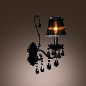 Stunning Modern Fashionable One-light Wall Sconce Completed with Unique Black Crystal Drops and Black Shade