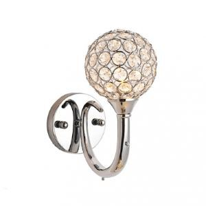 Elegant Curly Arm and Crystal Mounted Metal Shade Add Glamour to Modern Single Light Wall Sconce