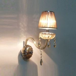 Brilliant Single Light Wall Sconce Completed with Dazzling Crystal Beads and Graceful Scrolling Arms