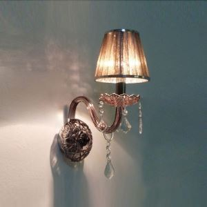 Contemporary Brilliant Coffee-colored Shade and Beautiful Crystal Drops Add Charm to Single Light  Wall Sconce