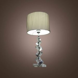 Stylish Table Lamp Fixture Accented with Angular Stacked Crystal Cubes and White Fabric Shape