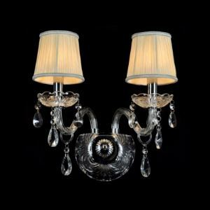 Enchanting Beige Fabric Shades and Clear Bobeches and Drops Add Glamour to Double Lights Wall Sconce