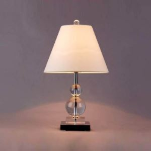 Elegant Modern Table Lamp Fixture with Stacked Crystal Orbs and Topped with Clean White Fabric Shape