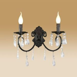 Williamsburg Sophisticated Two-light Wall Sconce Adorned with Clear Crystal Accents and Black Finish
