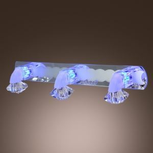 Dazzling Three Lights Modern Crystal Bathroom Lighting Creating Charming Embellishment for Mirror Space