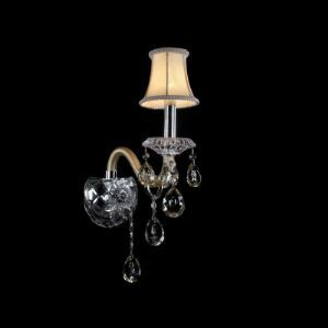 Splendid Single-light  Wall Sconce with Crystal Base Perfect for Living Room with Beige Fabric Bell Shade