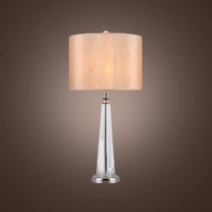 Gorgeous Nude Fabric Shade Table Lamp Featuring Sparkling Crystal Covered Metal Base